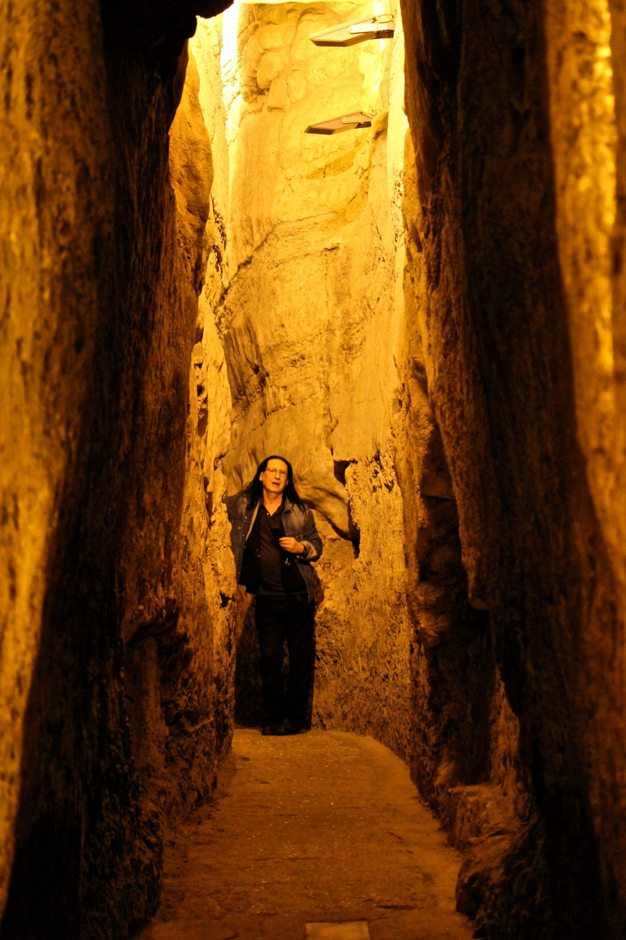 Me in a shaft of light under the Wailing Wall