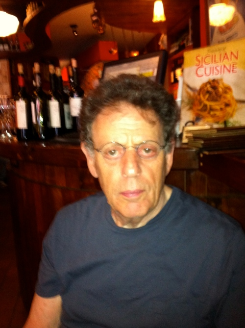 Philip Glass having a vegan pizza in lower Manhattan earlier this year
