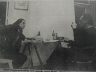 Heiner Mueller and I chatting in his West Berlin apartment in 1985 before the Wall came down