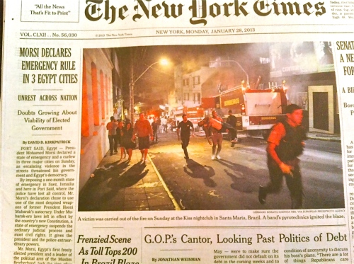 Front page of The New York Times 28 Jan 2013