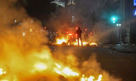 """peaceful demonstrations in Rio yesterday - perfect backdrop for a world event, no?"""