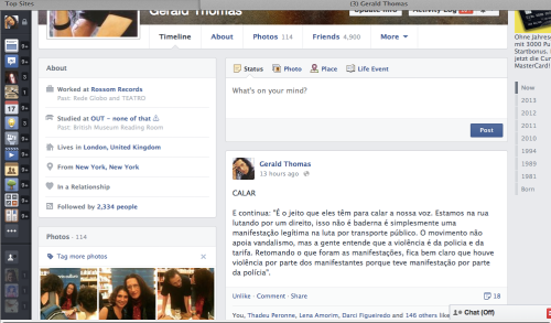 Screen shot of my page as I left