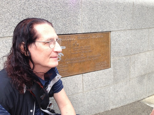 Paying homage to my master- sitting by the Samuel Beckett Bridge, Dublin