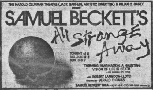 advertisement in the New York Times _ Beckett revival