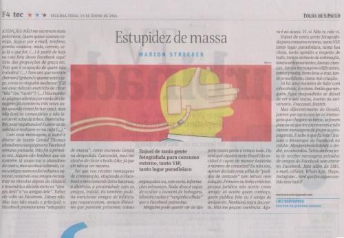 Folha de São Paulo - artigo impresso por Marion Strecker