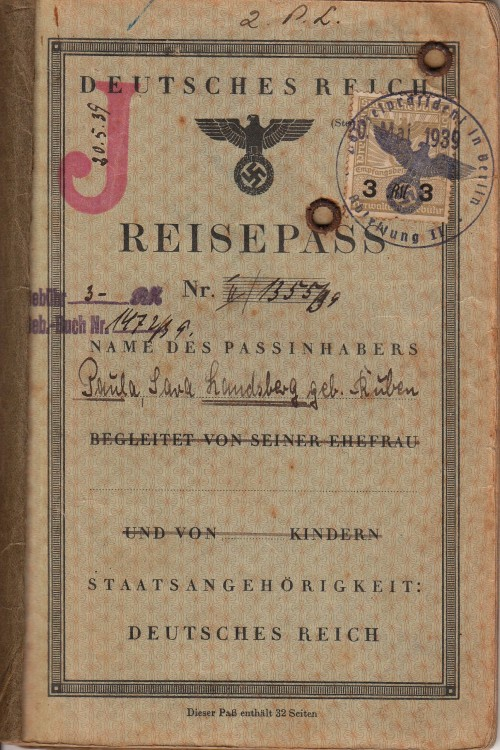 "Photocopy of my grandmother's 3rd Reich Passport with a ""J"" stamp in it: standing for JUDE (JEW) ! yes, that's how we progress!"