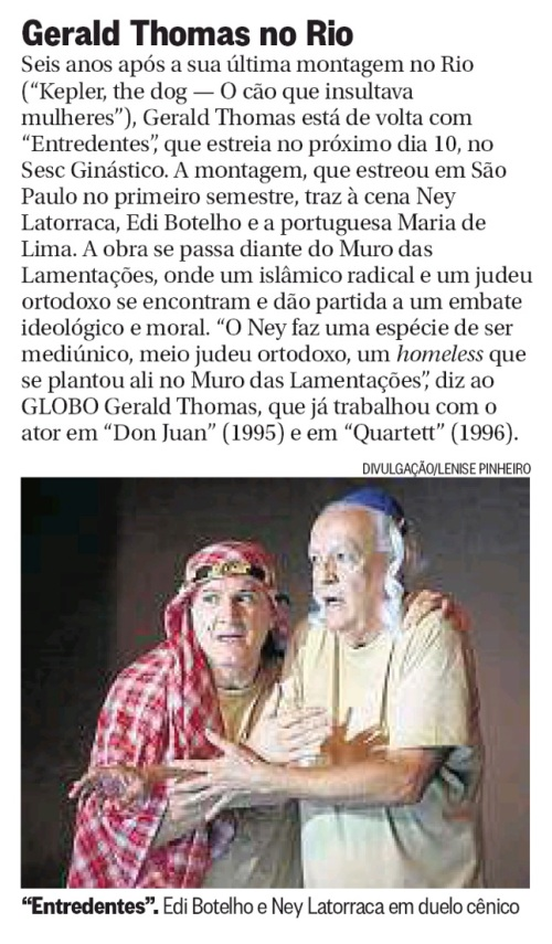 ENTREDENTES ESTREIA NO RIO