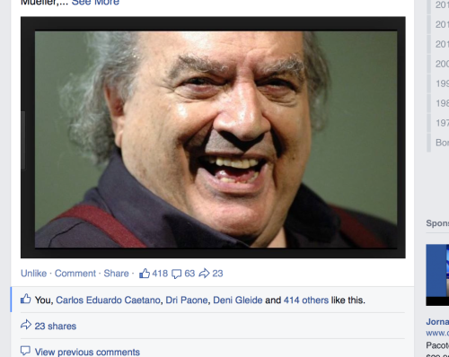 Unprecedented reverberation on my Facebook page: 400 + likes in only 3 hours