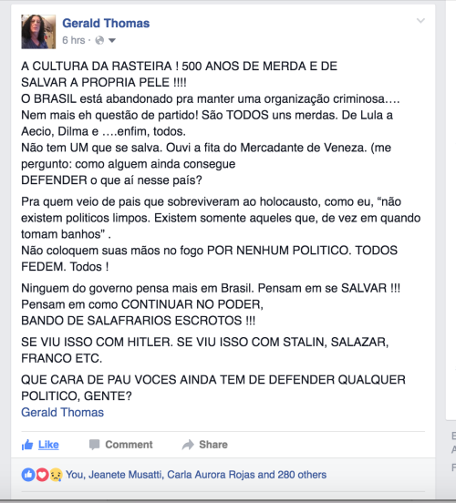 FACEBOOK POST POLITICA DE MERDA