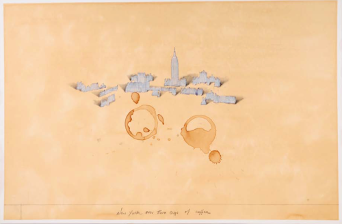"""New York over two cups of coffee"" - a poster which sold - and sold.... (all done with coffee and rubber stamps and pencil -"